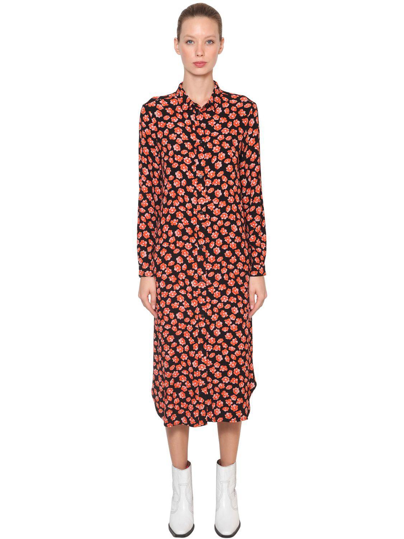 09950680 Ganni Lindale Printed Crepe Midi Shirt Dress in Red - Lyst