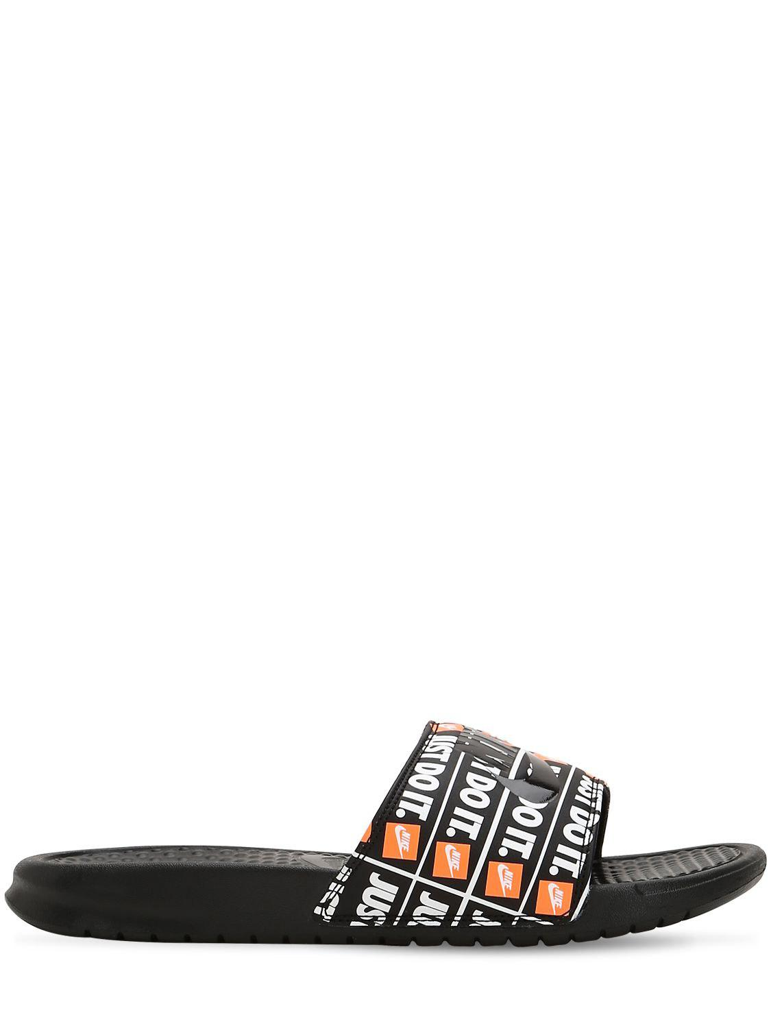 52717074b8f8 Lyst - Nike Benassi Just Do It Print Slide Sandals in Black for Men ...