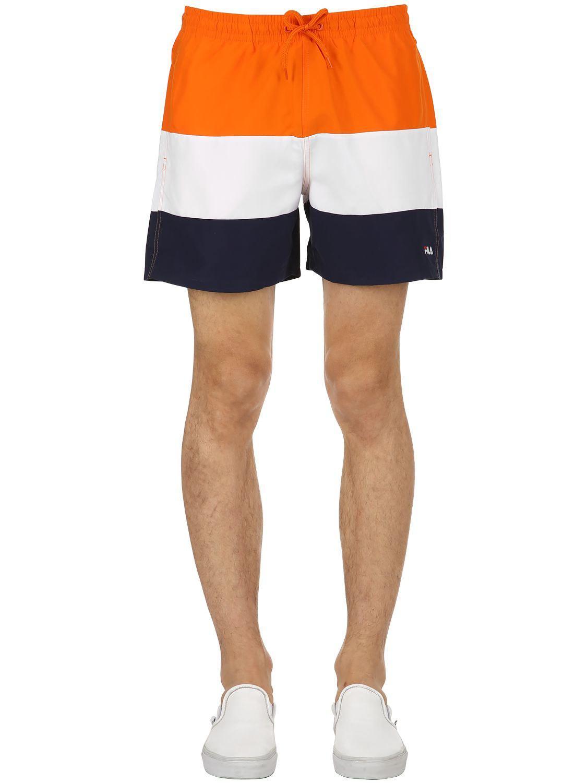 b9a63a92bb577 Fila Color Block Logo Swim Shorts in Orange for Men - Lyst