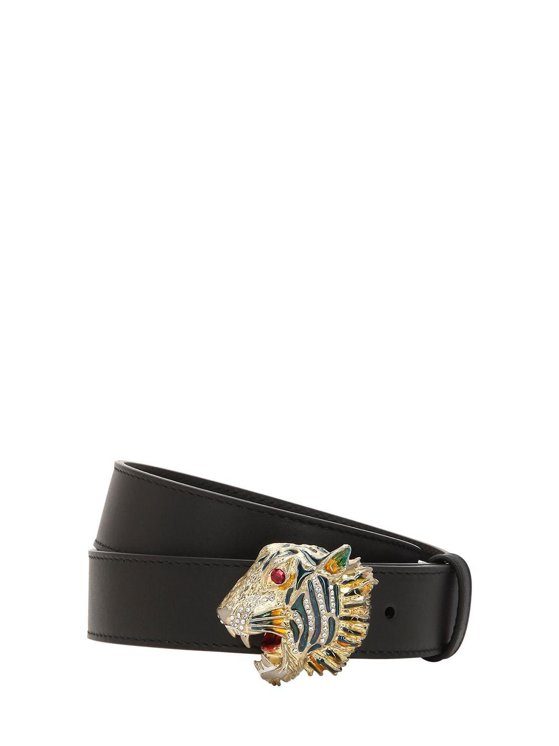 1f537f05572 Lyst - Gucci 30mm Tiger Buckle Leather Belt in Black
