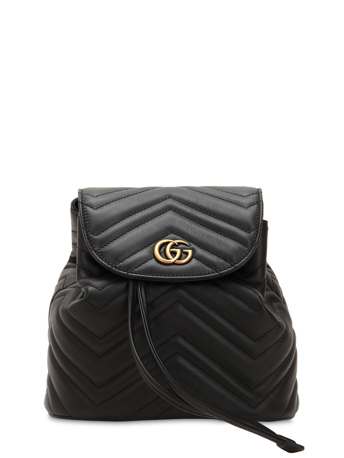 Lyst - Gucci Mini Gg Marmont Leather Backpack in Black - Save 7% bea34c023fed6