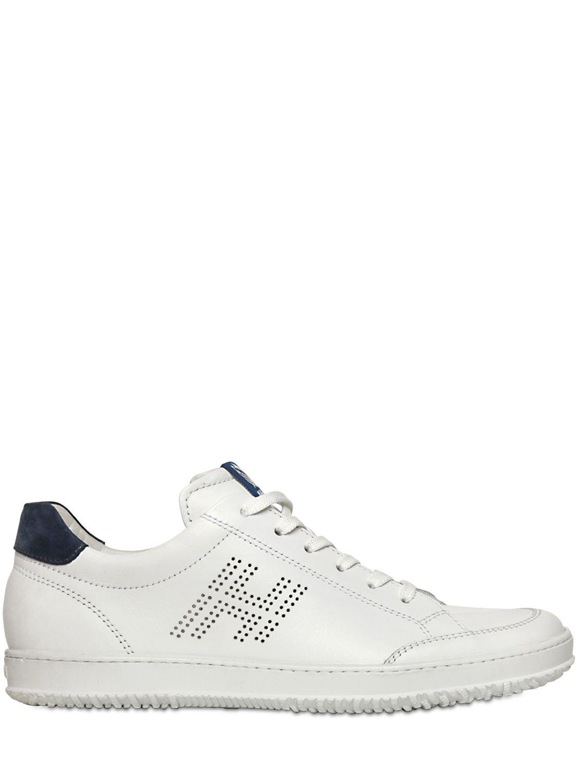 Hogan. Men's White 20mm Perforated Leather Sneakers