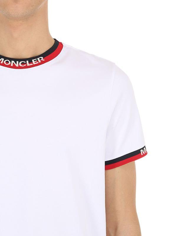 71d14fd5c Lyst - Moncler Striped Trim Cotton Jersey T-shirt in White for Men