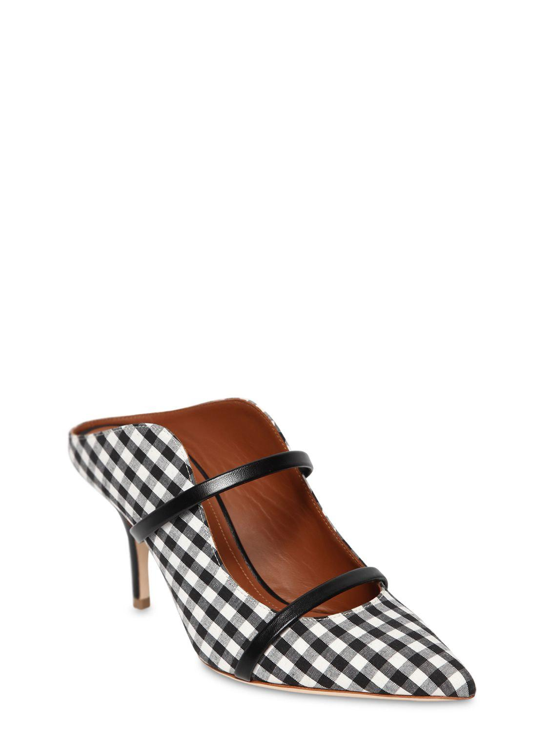 55d004f37e3 Lyst - Malone Souliers 70mm Maureen Gingham   Leather Mules in Black