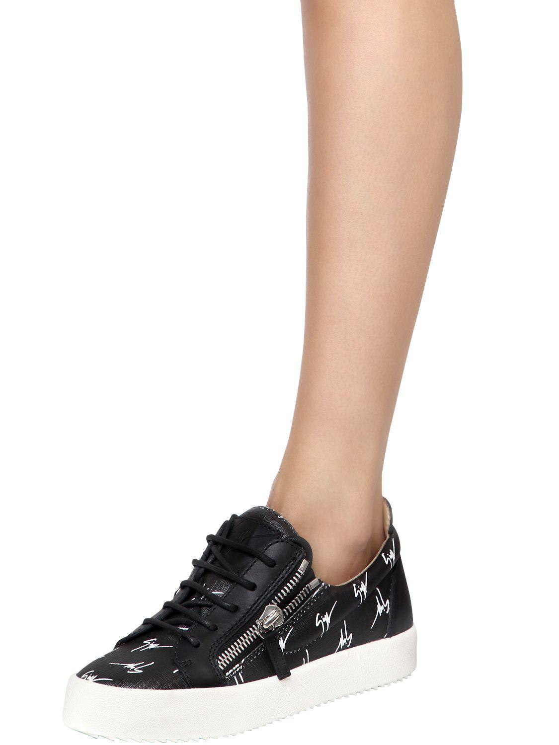 Giuseppe Zanotti 20MM LOGO ZIP-UP FAUX LEATHER SNEAKERS G7VzhD2