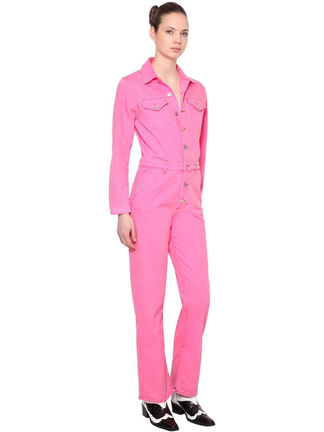 e11624b90ff Ganni Washed Cotton Denim Jumpsuit in Pink - Lyst