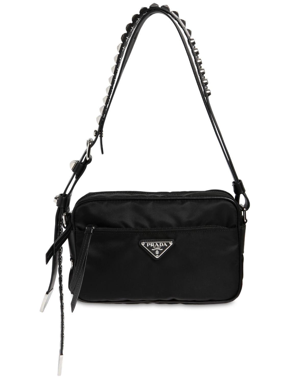 751ef603724aec Prada - Black Nylon Camera Bag W/ Studded Strap - Lyst. View fullscreen