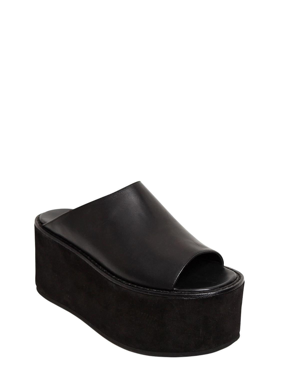 ANN DEMEULEMEESTER 85MM LEATHER PLATFORM MULES 3LmhNoC
