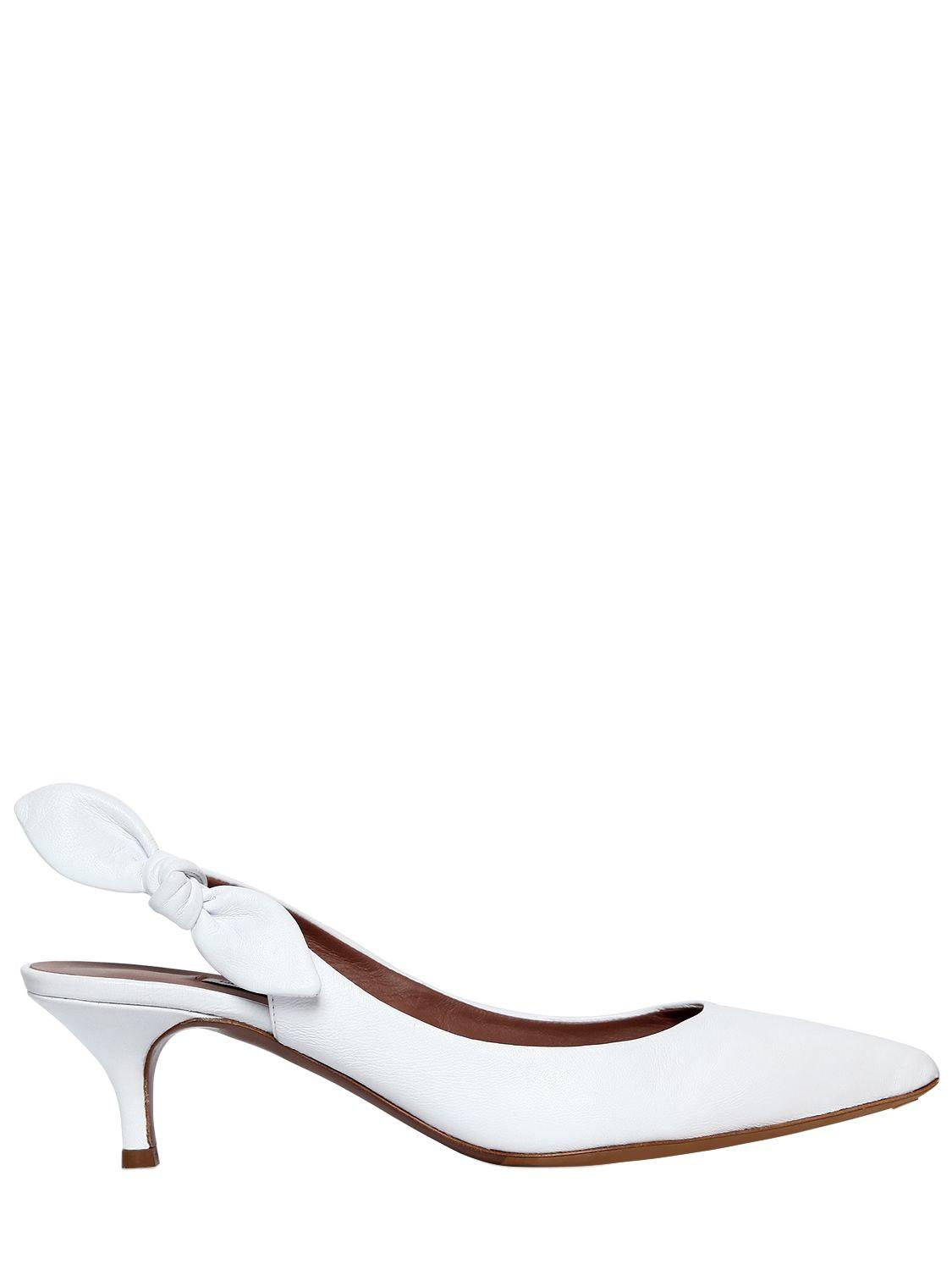 d002b42190f Lyst - Tabitha Simmons Rise Leather Slingback Pumps in White - Save ...