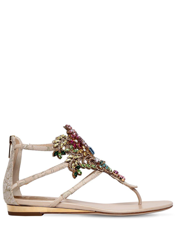a94cf859663e Lyst - Rene Caovilla 20mm Swarovski Lace Sandals