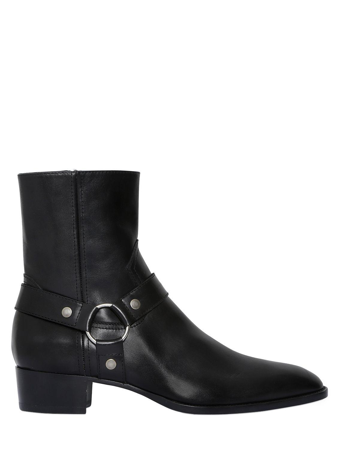 Saint Laurent 40MM WYATT BELTED SUEDE CROPPED BOOTS qT4C5E