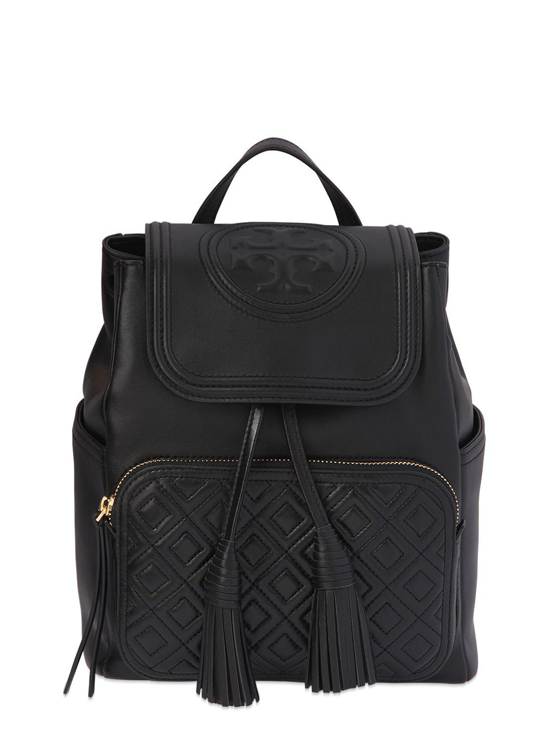 7cd6d283b2b4 Tory Burch Fleming Quilted Leather Backpack in Black - Lyst