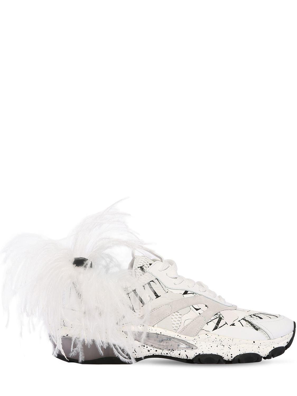488ffb49f Lyst - Valentino Bounce Leather Sneakers W  Feather in White for Men