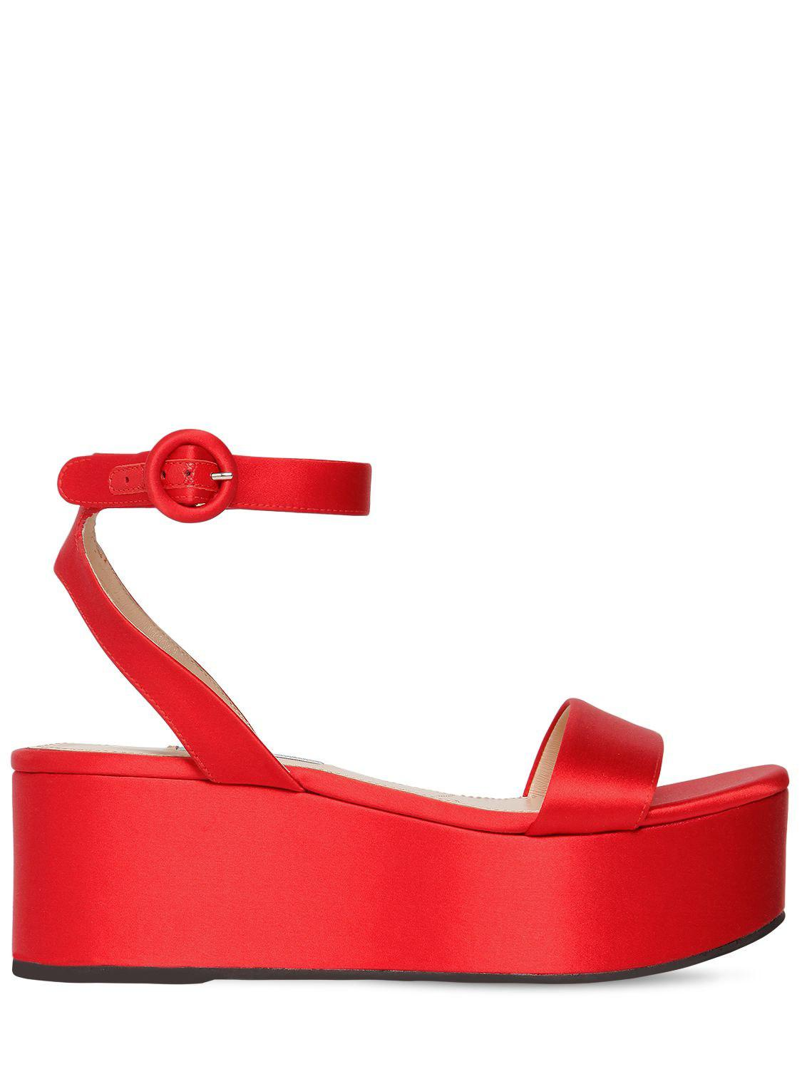 07950ae68456 Lyst - Prada 60mm Satin Wedge Sandals in Red