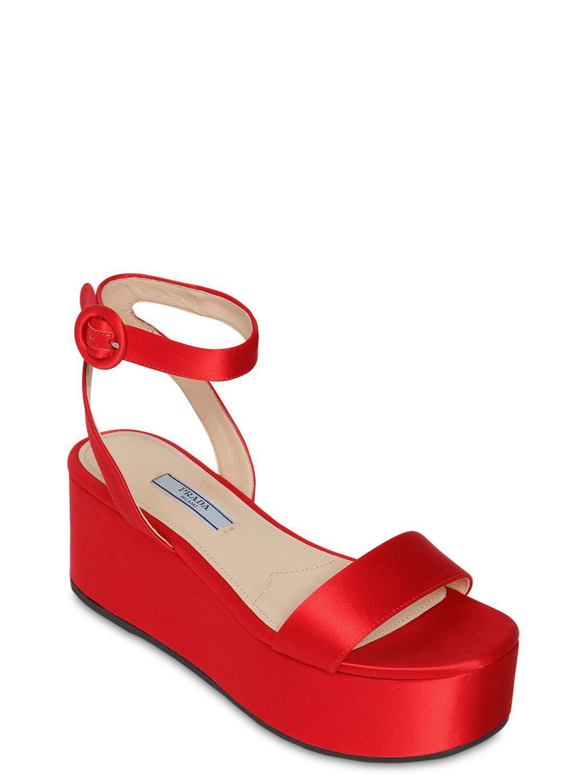 e7b93cfdfb5b Lyst - Prada 60mm Satin Wedge Sandals in Red