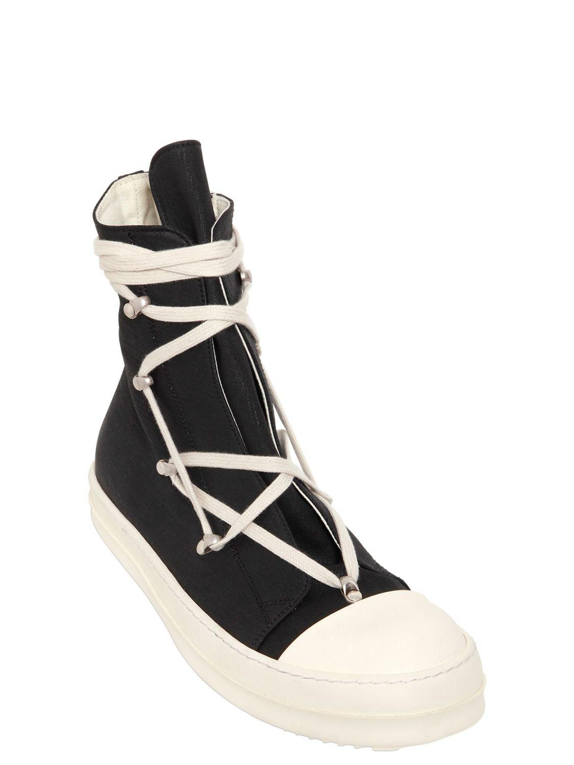 Rick Owens ZIP STRETCH WAXED COTTON HIGH SNEAKERS 8gxjyb