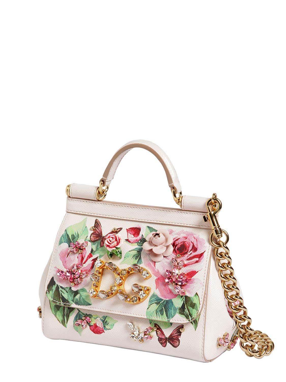 acc1fa54be72 Lyst - Dolce   Gabbana Small Sicily Rose Printed Leather Bag