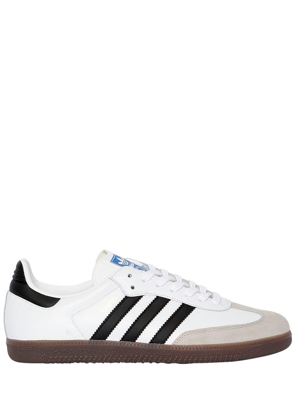 Lyst adidas samba cuoio e pelle scamosciata scarpe originali in bianco per gli uomini.