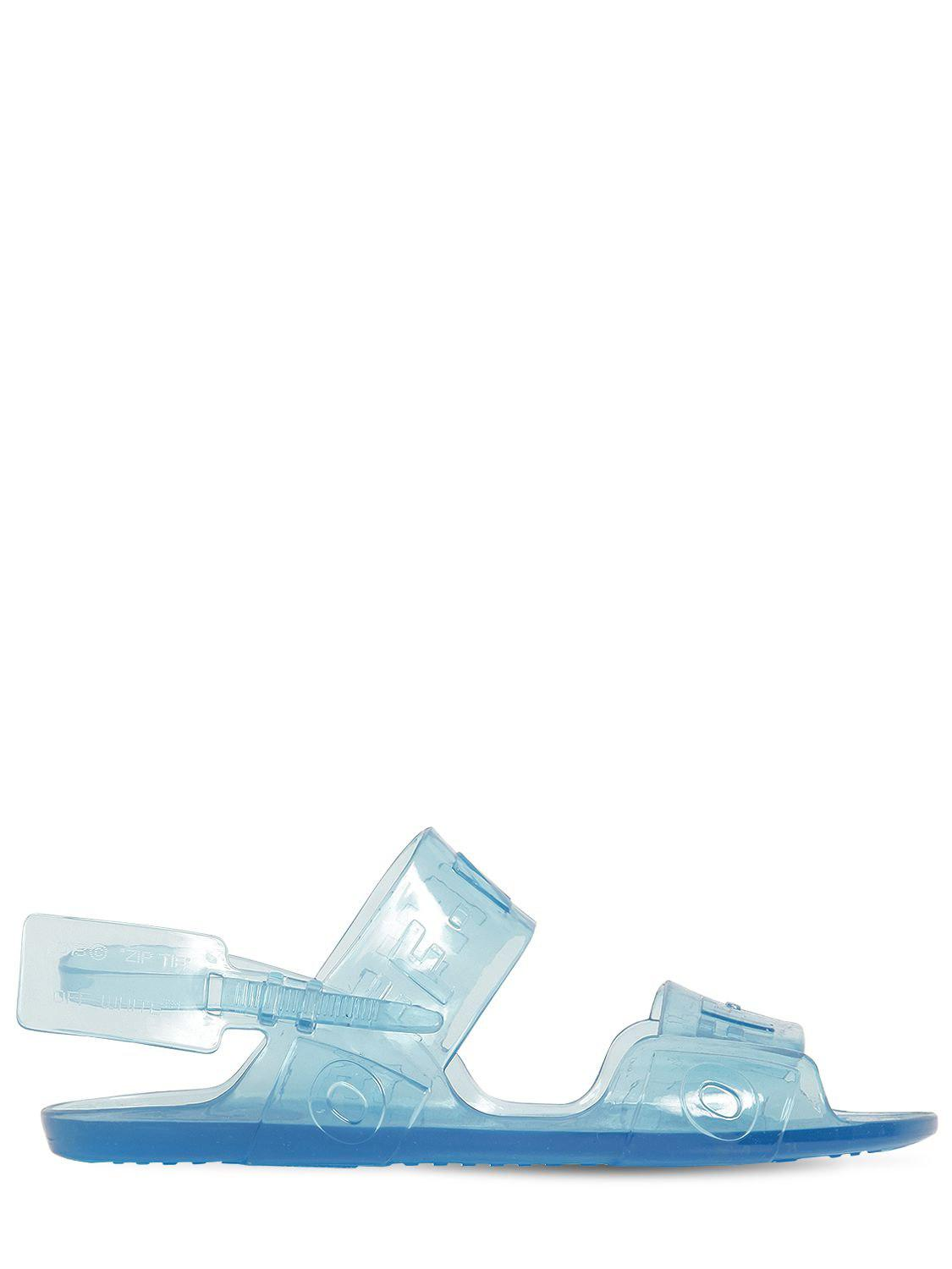 39e29366077 Lyst - Off-White c o Virgil Abloh Transparent Logo Sandals in Blue ...