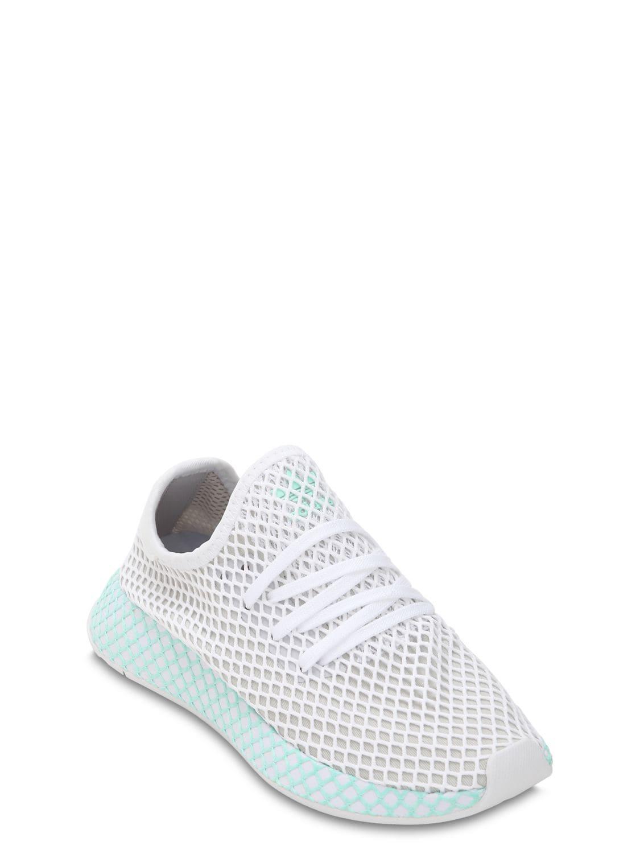 3840dadd117ce adidas Originals Deerupt Stretch Techno Sneakers in White - Lyst