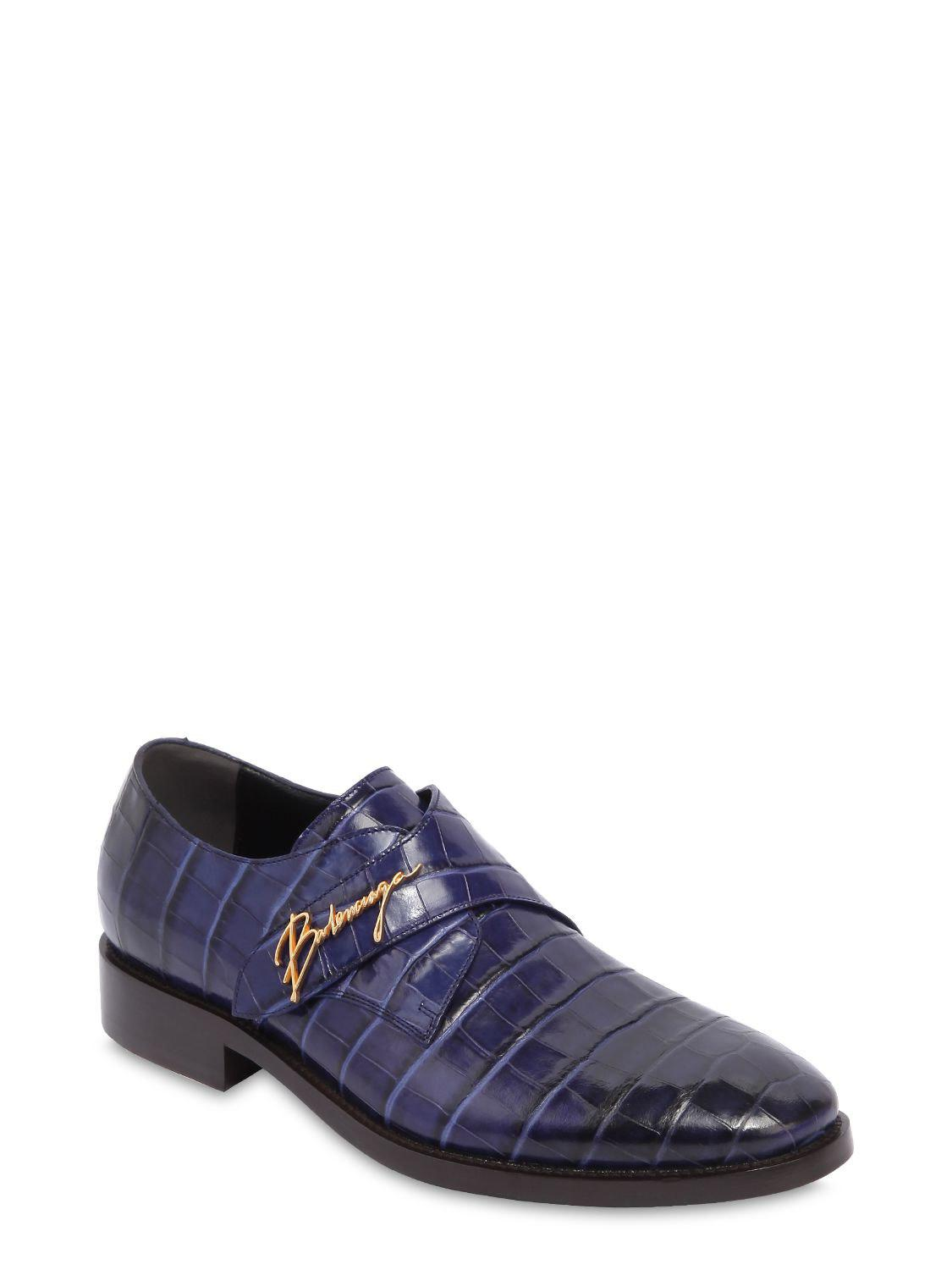 62d1d543398b Balenciaga - Blue Croc Embossed Leather Slip-on Shoes for Men - Lyst. View  fullscreen