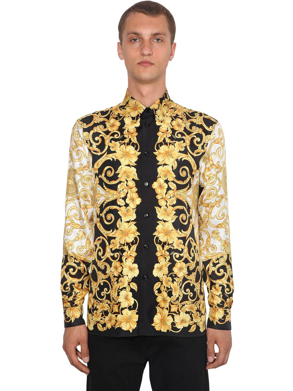 f61a4b8b Versace Heritage Hibiscus Printed Silk Shirt in Metallic for Men - Lyst