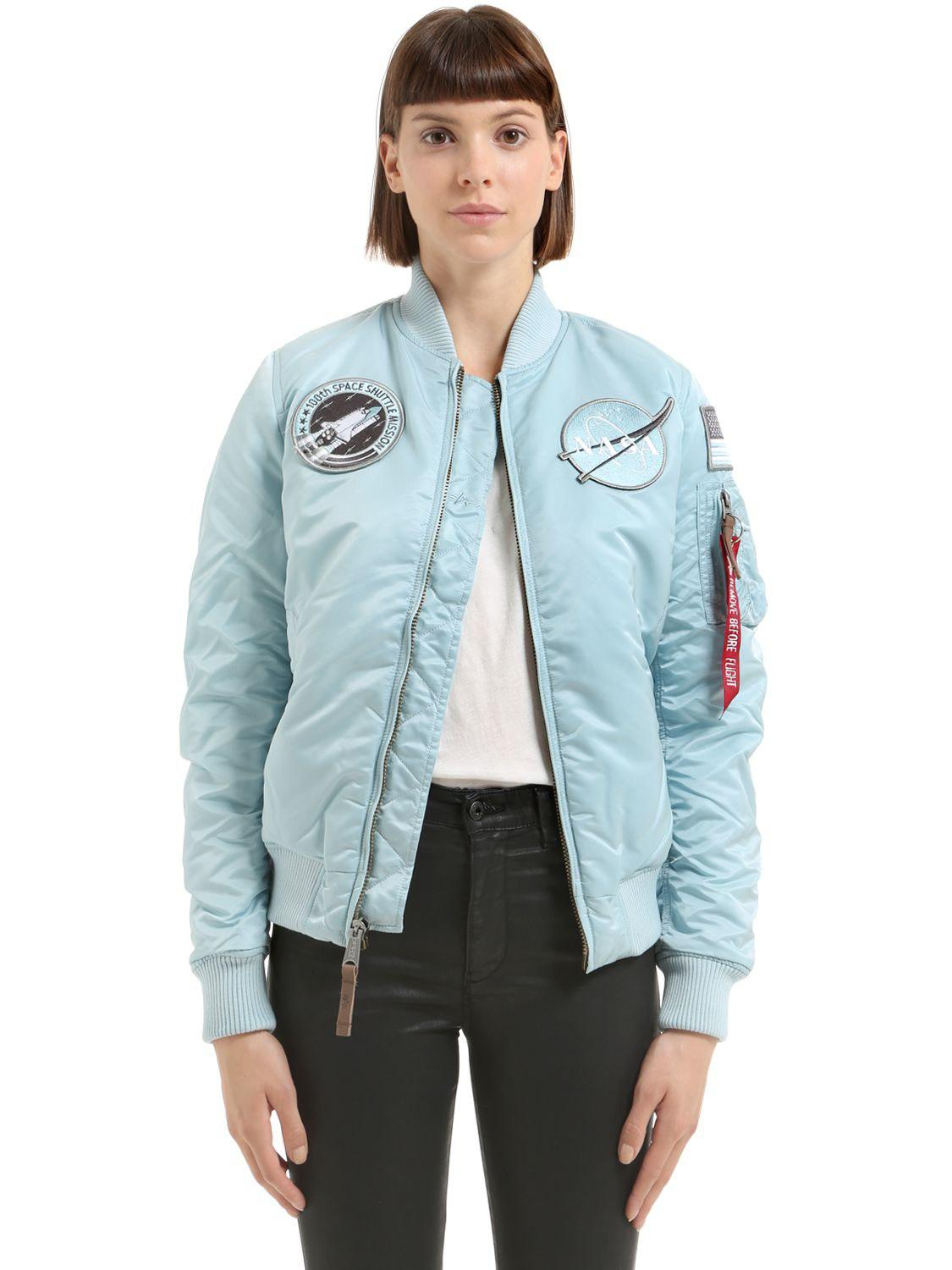 56c2b6480 Alpha Industries Nasa Patches Nylon Bomber Jacket in Blue - Lyst