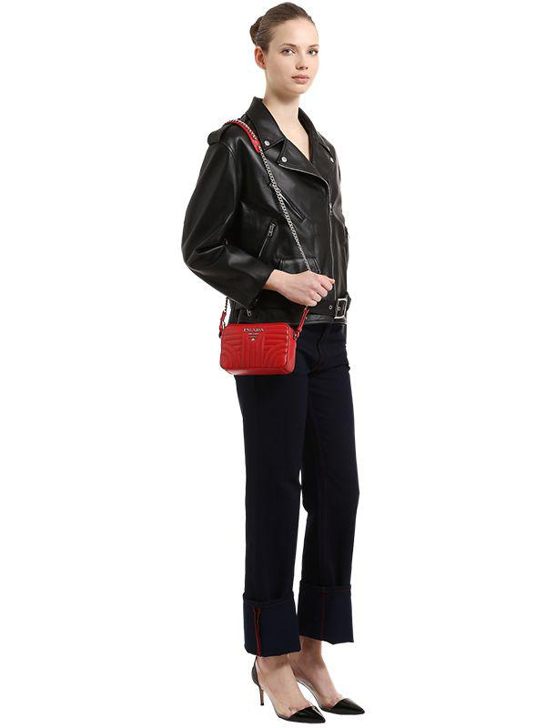 400bb6f12a94 Prada Small Quilted Soft Leather Camera Bag in Red - Lyst