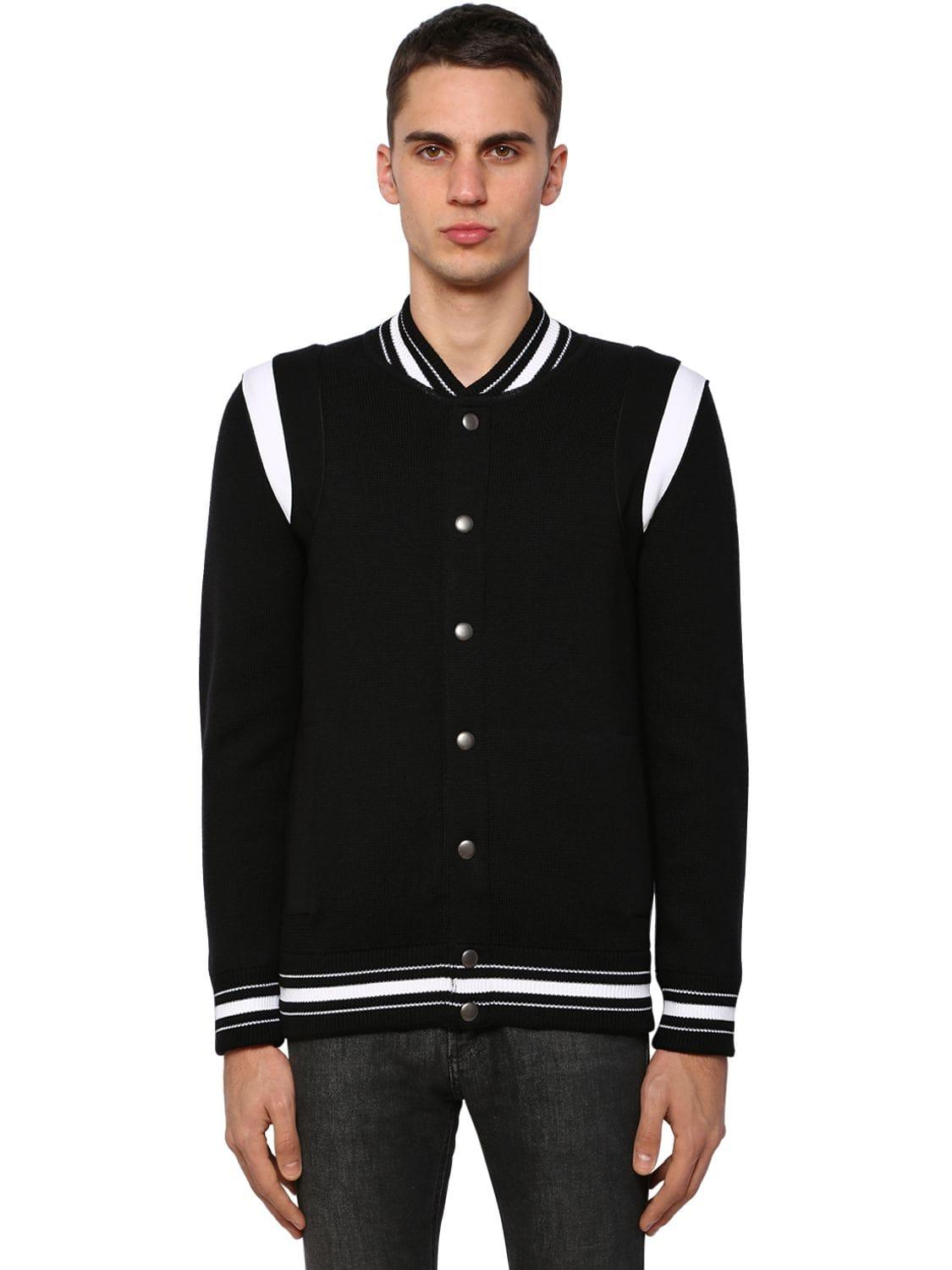 d05270628 Givenchy Embroidered Wool Knit Bomber Jacket in Black for Men - Lyst