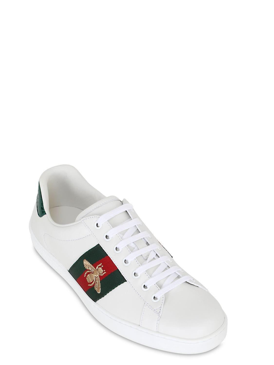 b65b2ff1262 Gucci New Ace Bee Web Leather Sneakers W ayer in White for Men - Save 10% -  Lyst