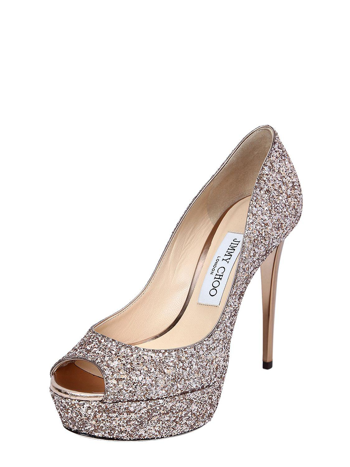 Jimmy choo 120MM JEANETTE GLITTERED OPEN TOE PUMPS Clearance Outlet Locations Free Shipping Wholesale Price Y268Dm3