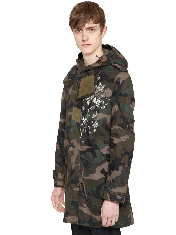 f6413785a2da0 Valentino Printed Camo Cotton Drill Parka Coat for Men - Lyst