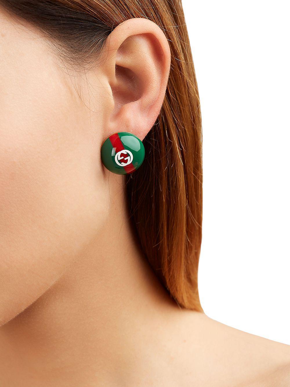 64937355d67 Lyst - Gucci Vintage Web   Logo Earrings in Green