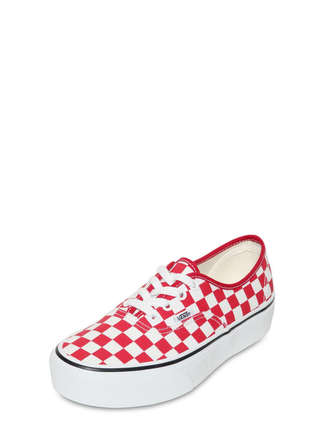 97e533706c Vans Authentic Platform Checkered Sneakers in Red - Save 8% - Lyst