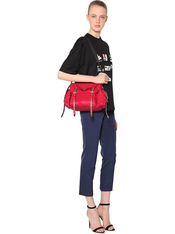 Prada - Red Nylon Canvas Shoulder Bag - Lyst. View fullscreen a93f74272111f