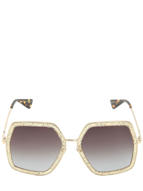 01236ef3a9e Gucci - Metallic Oversized Octagon Sunglasses - Lyst. View fullscreen