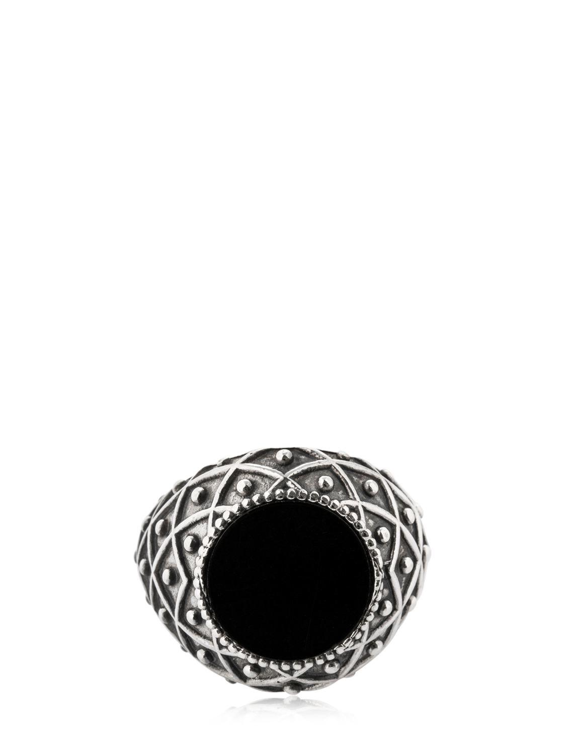 Emanuele Bicocchi Silver and Black Stone Ring V2hT6i
