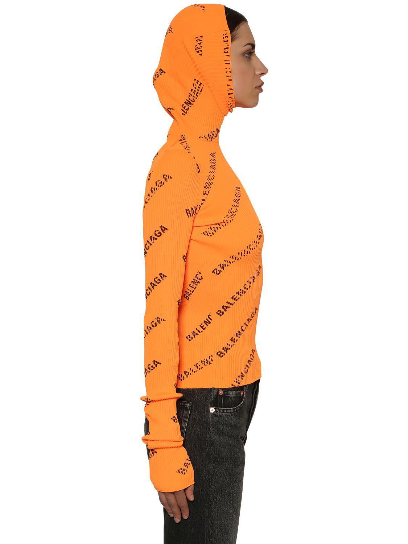 Balenciaga - Orange Hooded Rib Knit Turtleneck Sweater - Lyst. View  fullscreen 77cfea6b1