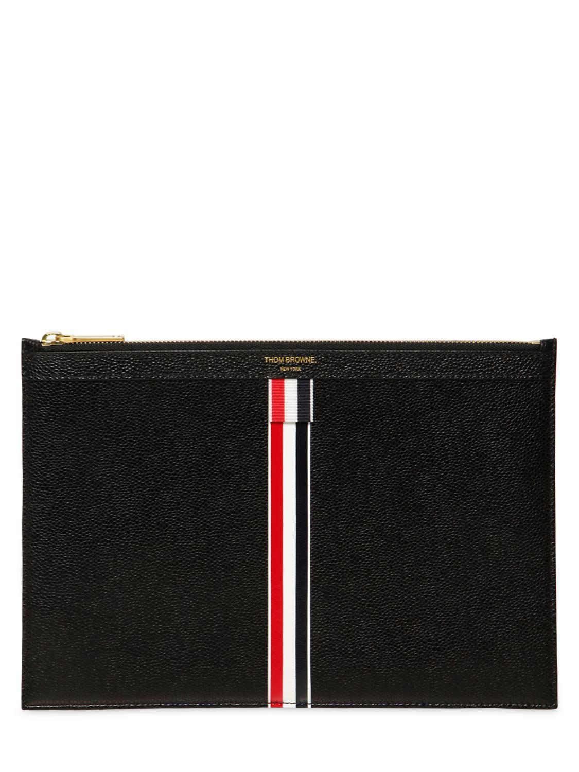 Thom Browne SMALL ZIPPED LEATHER POUCH W/ STRIPES