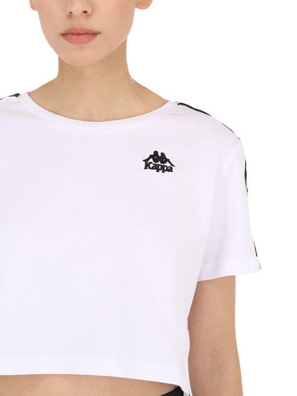 e7dd07ae80c412 Kappa Banda Apua Cotton Jersey Crop T-shirt in White - Lyst