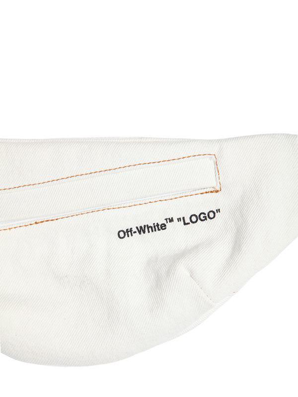 O Virgil Abloh Logo Strap Cotton Denim Belt Bag In White