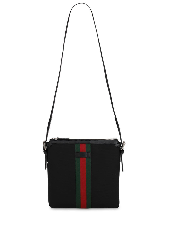 af153dc70 Gucci Techno Canvas Crossbody Bag in Black for Men - Lyst