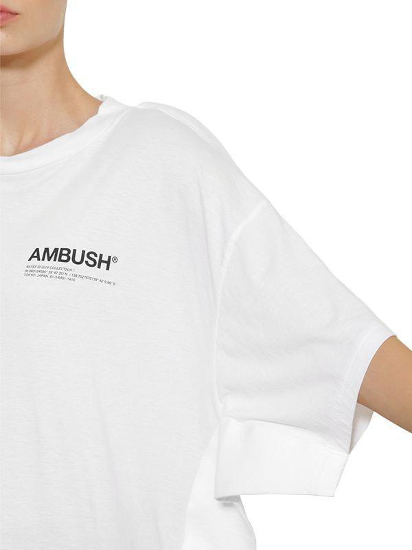 c08fb2b1bdae02 Ambush Oversize Logo Cotton Jersey T-shirt in White - Lyst