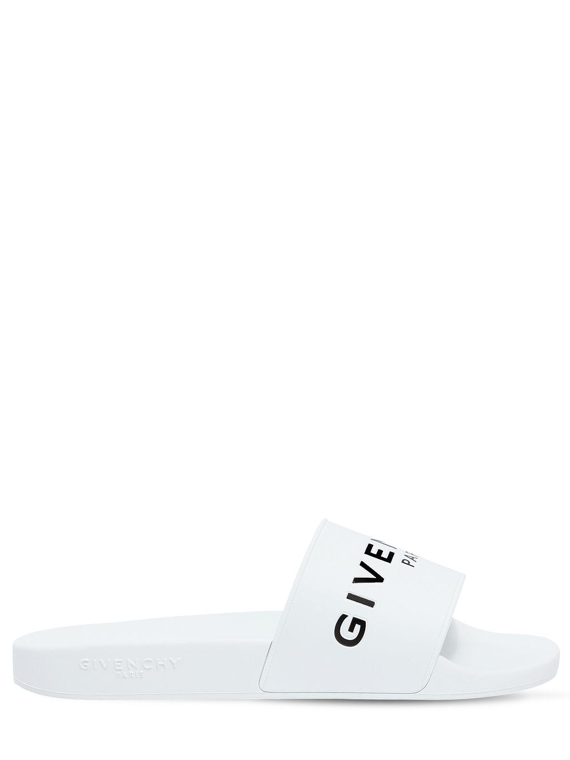9dff44b3ec162 Lyst - Givenchy Slide Logo Rubber Slide Sandals in White for Men