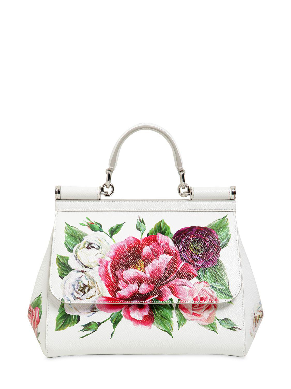 Dolce   Gabbana Medium Sicily Floral Printed Leather Bag in White - Lyst 54197eda0d