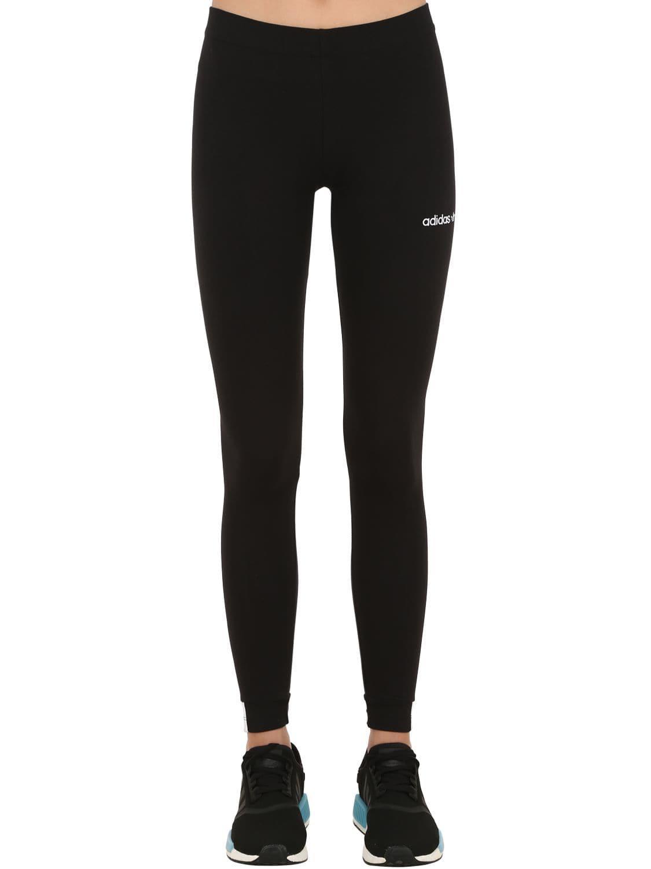 28d5cd4ff2fdd Lyst - adidas Originals Logo Stretch Cotton Blend Leggings in Black