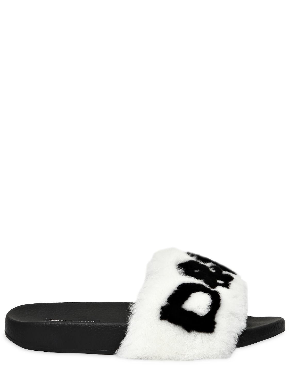 Dolce & Gabbana 20MM RABBIT FUR LOGO SLIDE SANDALS FXyJEK