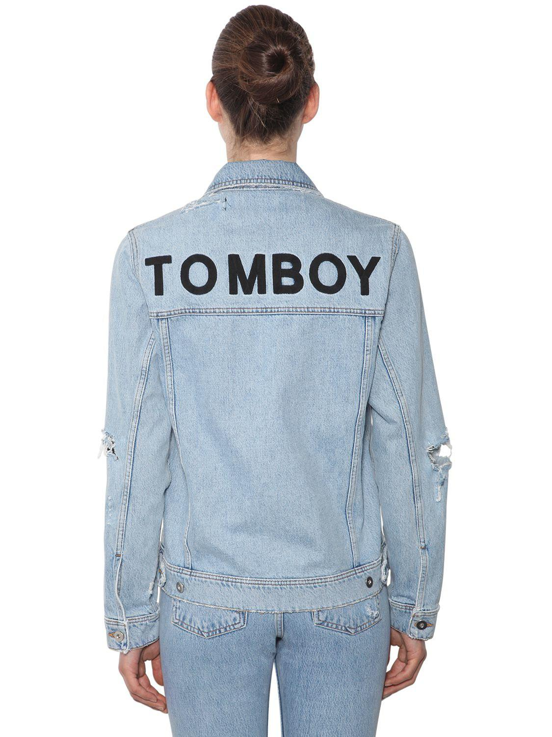 Papa A Tomboy Blue Jacket Denim Women's Cotton Filles vw5qx7dv
