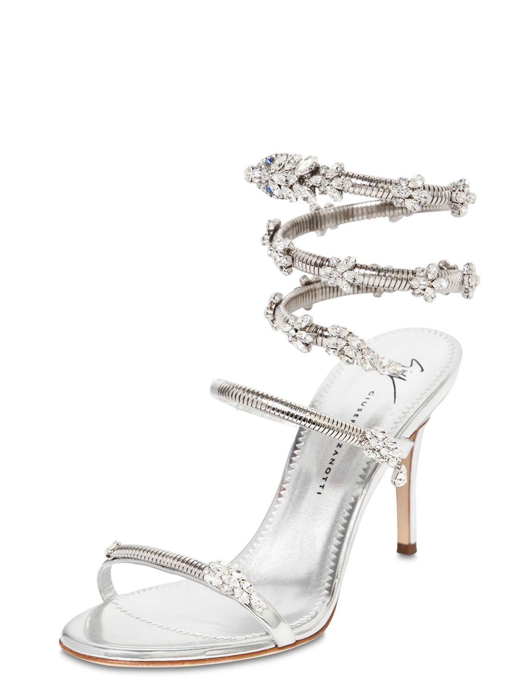 07c7d3be8968d Lyst - Giuseppe Zanotti 90mm Crystal Snake Bracelet Sandals in Metallic