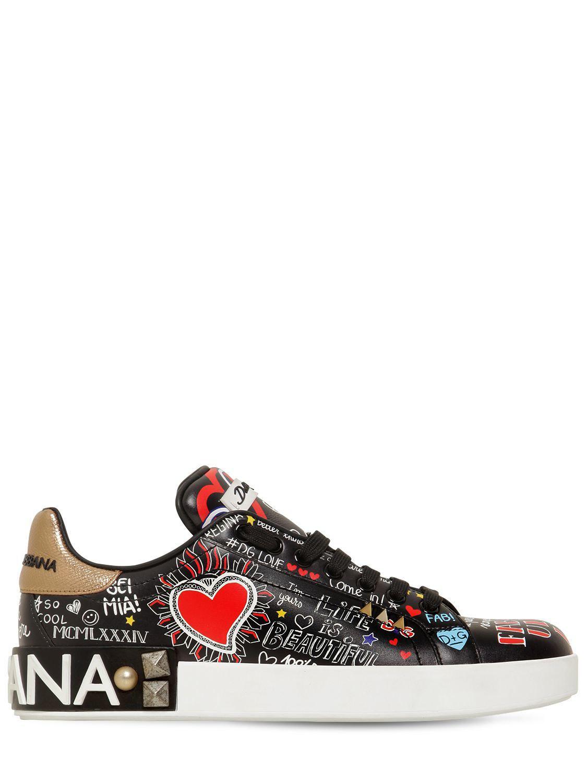 Lyst - Dolce   Gabbana 20mm Portofino Graffiti Leather Sneakers in Black bc2380efe33